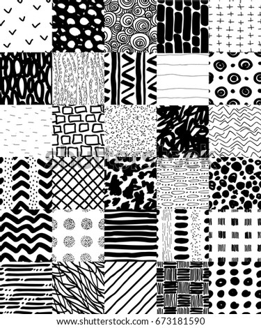 Hand Drawn Seamless Patterns Set. Stripes, smears, spots, dots and circles patterns collection. Black on transparent background repeating graphic set. Repeating graphic design. Hand drawn elements.