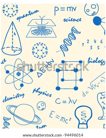 Hand Drawn Seamless Science Icons      changeable background   vector eps10 - stock vector