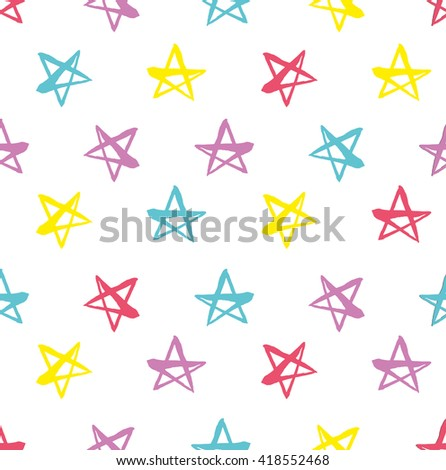 Hand drawn seamless star pattern. Dry brush and rough edges ink illustration. Abstract vector background