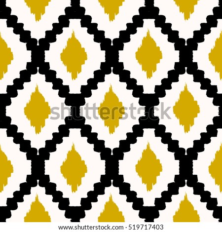 Hand Drawn Seamless Tribal Pattern Black Stock Photo (Photo, Vector ...