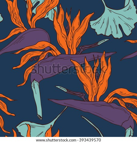 Hand drawn seamless tropical pattern in vector - stock vector