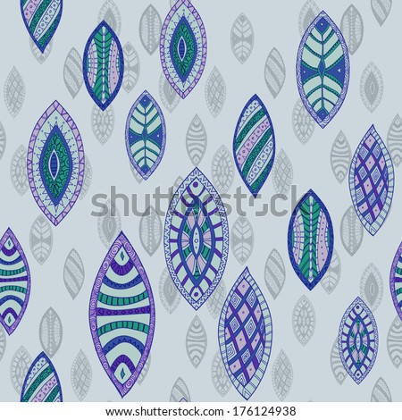 Hand drawn seamless vector abstract ethnic pattern with ornamental foliage. - stock vector