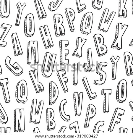 Hand drawn seamless vector background of the Latin or English alphabet