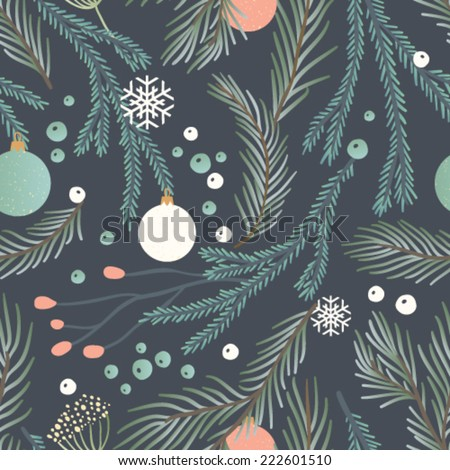 Hand drawn seamless vector pattern. Fall/winter themed background.  - stock vector
