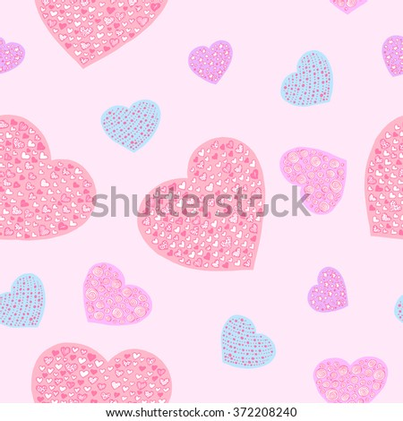 Hand drawn seamless vector pattern with hearts for valentines day. Pink, light pink, light blue and light violet.