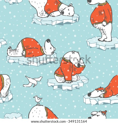 Hand drawn seamless winter texture with bear, ice and snow in vector - stock vector