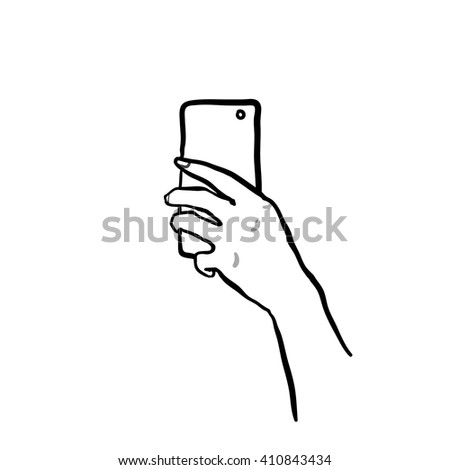 Hand drawn selfie in mirror on white background