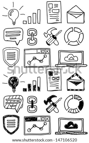 Hand drawn seo doodles / icon set - stock vector