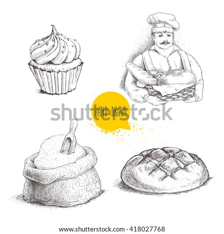 Hand drawn set bakery illustrations. Baker with basket of fresh bread, loaf, cupcake  and sack with flour and wooden scoop isolated on white background. - stock vector