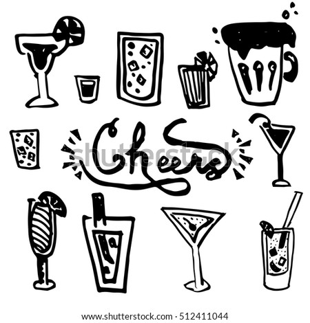 Hand drawn set Cheers (toasting). Vector illustration skeatch. Drink theame - beer, coctail.