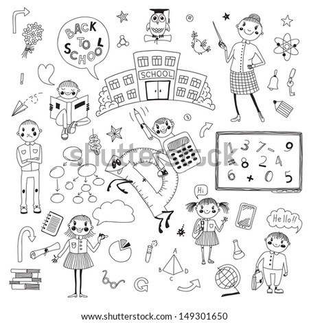 Hand drawn set for school design. School, teacher, school children, the numbers... Vector illustration. - stock vector