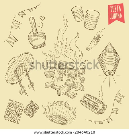 Hand drawn set - June Party / St. John's - EPS 8  - stock vector