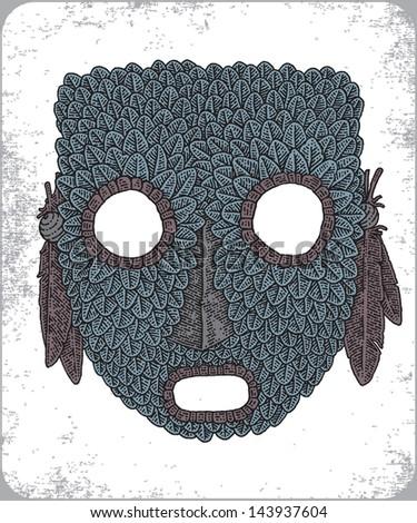 Hand-drawn set of african zulu masks. - stock vector