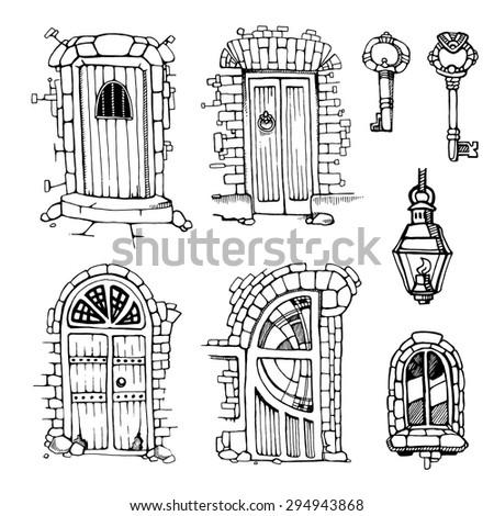 Hand drawn set of ancient doors - stock vector