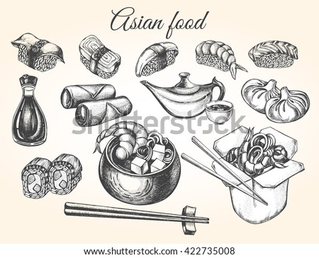 Hand drawn set of Asian food. Sushi, soy sauce, miso soup, spring rolls, Chinese dumplings, noodles wok, tea, chopsticks. Vector illustration.