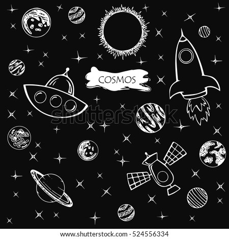 Hand drawn set of astronomy doodles.Space. Illustration.