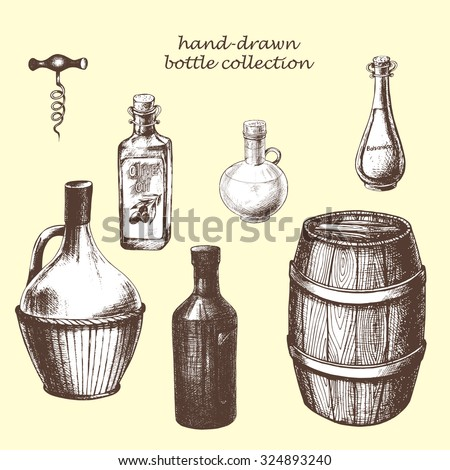 Hand-drawn set of bottles and wood barrel, vector illustration.