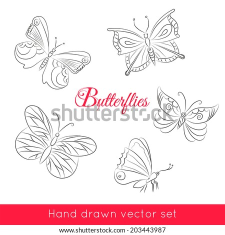 Hand drawn set of butterflies for your design. Vector illustration.