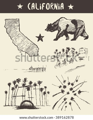 Hand drawn set of California state, vector illustration, sketch - stock vector
