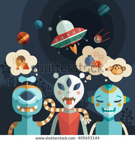 Hand-drawn set of cartoon funny aliens, spaceships and UFOs. Cute character design aliens. - stock vector