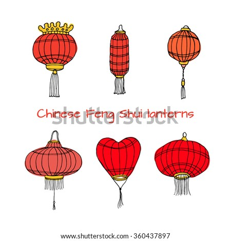 Hand drawn set of Chinese paper sky lantern. Traditional lamps for Chinese New Year decoration and home decor. Vector illustration. Feng Shui symbol and decor element. Red doodle sketch.