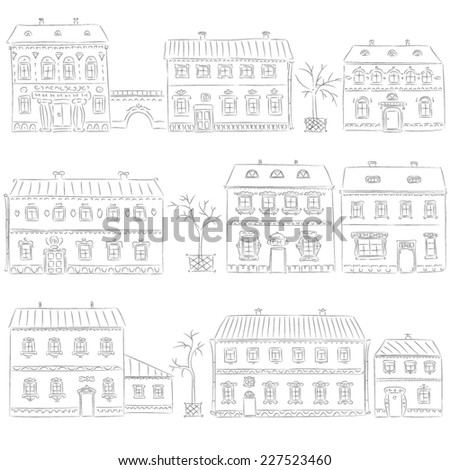 Hand drawn set of cute retro houses - stock vector