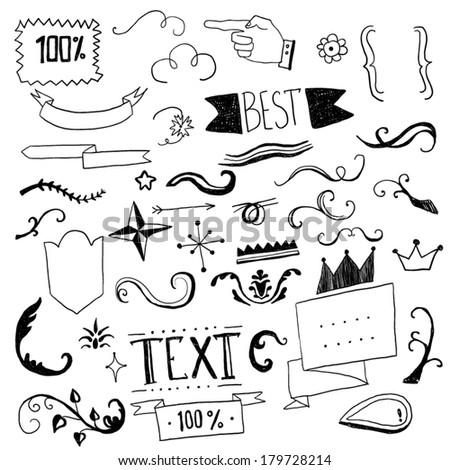 Hand drawn set of design elements - stock vector