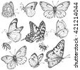 Hand drawn set of doodle insects. Monochrome image of flying and sitting butterflies and bees. Black and white elements for coloring. Vector sketch. - stock vector