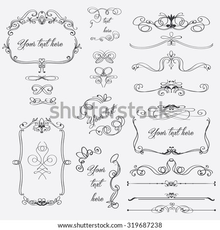 Hand drawn set of elegant swirls and decorative elements