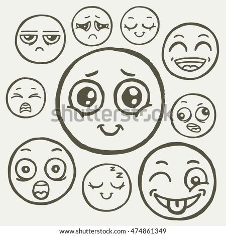 Hand drawn set emoticons emoji smile stock vector for Doodle art faces