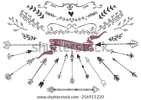 Hand drawn set of floral and decorative elements - stock vector