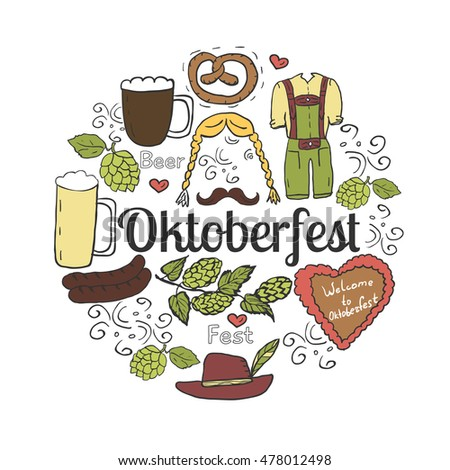 Hand drawn set of hop, beer, sausages, clothes, hat, and cake for Octoberfest. Vector illustration