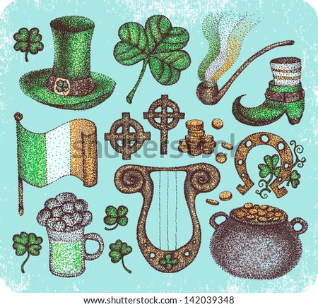 Hand-drawn set of irish traditional Saint Patrick's Day symbols. - stock vector