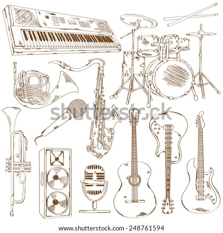 Hand drawn set of isolated sketch musical instruments - stock vector