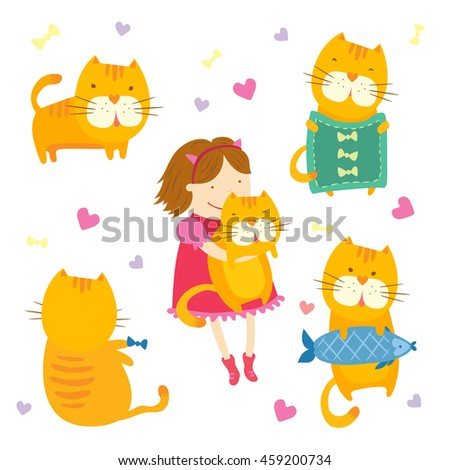 Hand drawn set of little orange tiger and his friend little sweet smiling girl