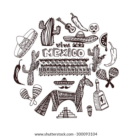 Hand drawn set of mexican symbols - guitar, sombrero, tequila, skull, aztec mask, music instruments. Isolated national elements made in vector. Travel to Mexico icons for cards and web pages. sketch - stock vector