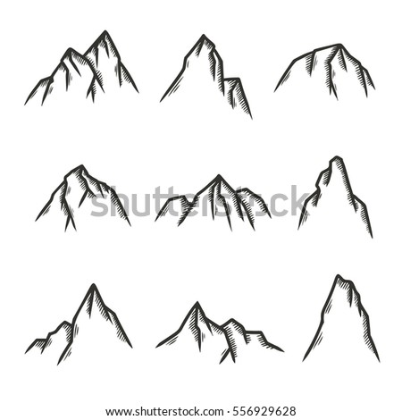 Hand drawn set of mountains. Pen graphic design elements for emblems, prints, posters. Vector vintage illustration.