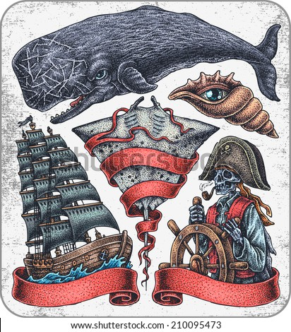 Hand-drawn set of old school oceanic theme tattoos.