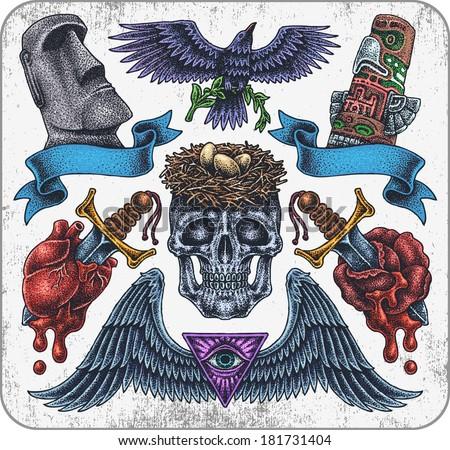 Hand-drawn set of old school tribal theme tattoos. - stock vector