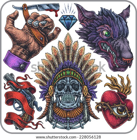 Hand-drawn set of old school yakuza theme tattoos. - stock vector