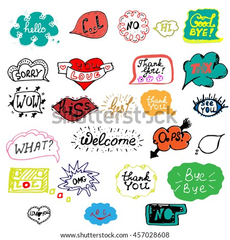 Hand drawn set of speech bubbles with dialog words. Doodle, hand drawn sketch, scribble. Vector illustration. - stock vector
