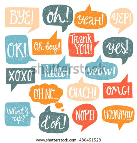 Hand drawn set of speech bubbles with handwritten short phrases yes, thank you, bye, ok, hooray, omg, wow, oh boy, xoxo, what's up, ouch, oh, yeah, oh no, nope, yep, hello
