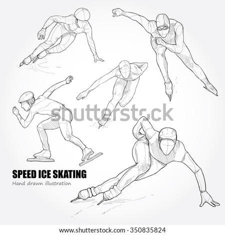 hand drawn set of speed ice skating