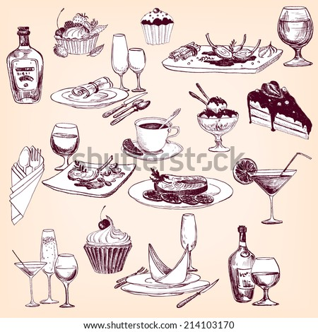 hand drawn set of tableware, , food and drinks, restaurant objects set,  vector design elements of table appointments - stock vector