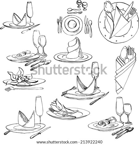 hand drawn set of tableware, vector design elements of table appointments - stock vector