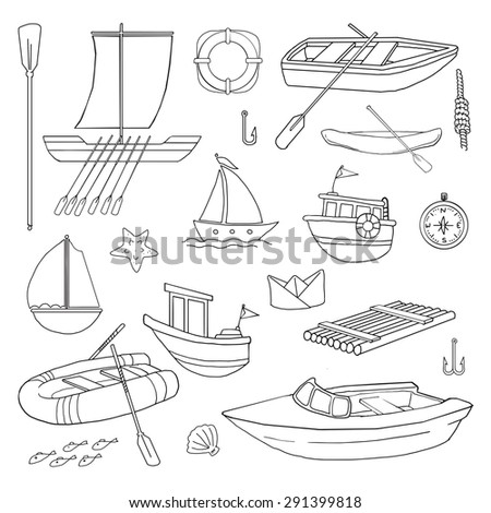 Hand drawn Set of various boats and related nautical items, vector illustration - stock vector