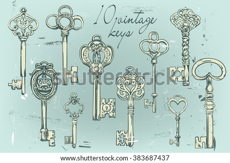 Hand-drawn set of various vintage keys.