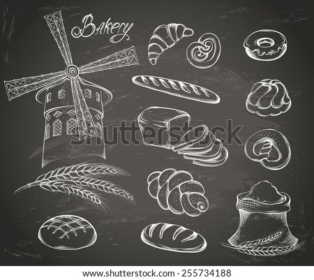 Hand drawn Set of vintage bakery icons on the chalkboard: flour, mill, bread and other pastries. Retro style food design. Vector illustration. - stock vector