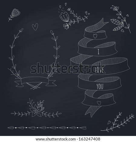 Hand drawn set of wedding wreath, ribbons and flowers. EPS 10. Transparency. No gradients. - stock vector