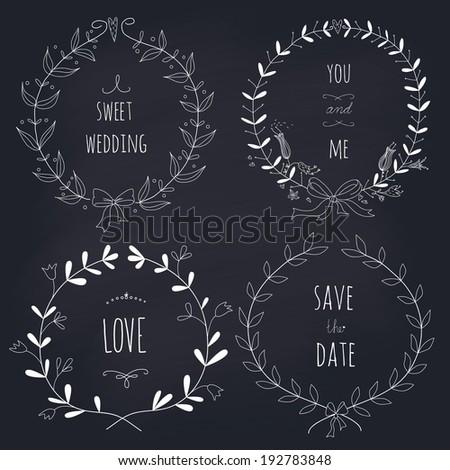 Hand drawn set of wedding wreaths on blackboard. EPS 10.No gradients. Transparency. - stock vector